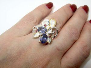 Кольцо с иолитом серебряное. Ярмарка Мастеров - ручная работа, handmade.