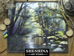 Видео мастер-класс: рисуем сухой пастелью «Лесной ручей». Ярмарка Мастеров - ручная работа, handmade.