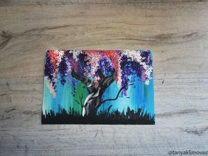 Рисуем цветущее дерево с помощью ватных палочек. Ярмарка Мастеров - ручная работа, handmade.