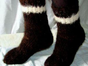 В продажу поступили черные пуховые  носки из собачьей шерсти. Ярмарка Мастеров - ручная работа, handmade.