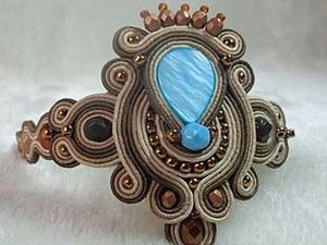 Создаем сутажный браслет с голубым перламутром. Ярмарка Мастеров - ручная работа, handmade.