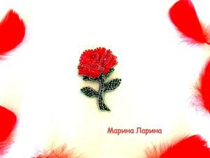 Создаем брошь  «Красная роза»  из бисера. Ярмарка Мастеров - ручная работа, handmade.