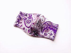 Повтор! Маска защитная пейсли фиолетовая. Ярмарка Мастеров - ручная работа, handmade.