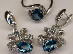 Комплект с London Blue Топазами  « Небесный Ангел» . Ярмарка Мастеров - ручная работа, handmade.