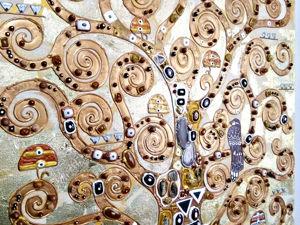 Картина с полудрагоценными камнями Древо жизни. Густав Климт. Ярмарка Мастеров - ручная работа, handmade.