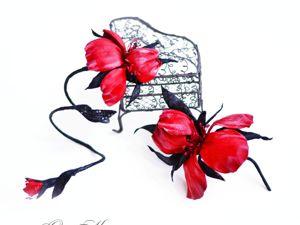Комплекты украшений с ирисами в моем кожаном саду. Ярмарка Мастеров - ручная работа, handmade.