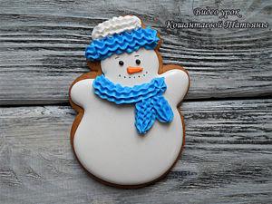 Видеоурок: расписываем пряничного снеговичка. Ярмарка Мастеров - ручная работа, handmade.
