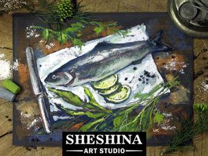 Видеоурок: рисуем сухой пастелью натюрморт с рыбкой. Ярмарка Мастеров - ручная работа, handmade.