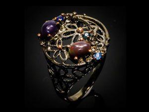 Серебряное кольцо с опалами, размер 17. Ярмарка Мастеров - ручная работа, handmade.