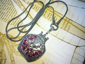 Скидка 20% Медальон на цепочке, серебро, рубины природные. Ярмарка Мастеров - ручная работа, handmade.