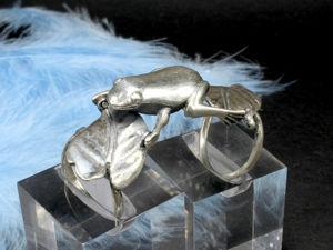 Кольцо Лягушка на листьях из серебра 925 пробы. Ярмарка Мастеров - ручная работа, handmade.