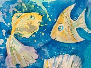 """Роспись платка """"С рыбами"""" в технике горячий батик. Ярмарка Мастеров - ручная работа, handmade."""