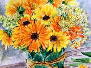 Акварель и фантазия. Рисуем букет цветов. Ярмарка Мастеров - ручная работа, handmade.