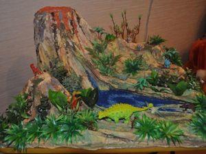 Макет-миниатюра «Эпоха динозавров с вулканом». Ярмарка Мастеров - ручная работа, handmade.