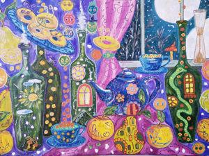 Видео к работе Кухня изобилия веселая Картина маслом на холсте на картоне. Ярмарка Мастеров - ручная работа, handmade.