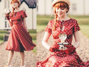 Красное платье в белый горох — мечта каждой модницы. Ярмарка Мастеров - ручная работа, handmade.