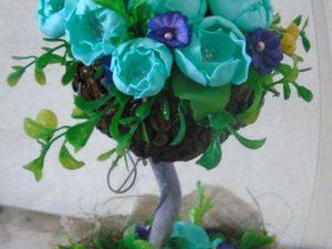 Топиарий из кофейных зерен с цветами из фоамирана своими руками: видеоурок. Ярмарка Мастеров - ручная работа, handmade.