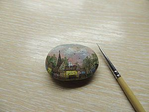 Painting Dawn on a Stone. Livemaster - hecho a mano - handmade.