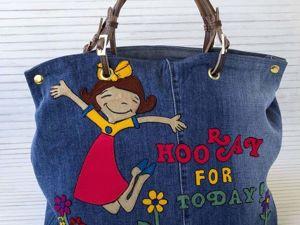 Украшаем джинсовую сумку аппликацией из трикотажной ткани. Ярмарка Мастеров - ручная работа, handmade.