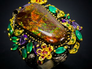 Шедевральное кольцо с натуральным аммолитом. Ярмарка Мастеров - ручная работа, handmade.
