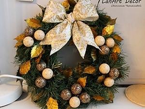"""Рождественский венок """"Шоколадное Рождество"""". Ярмарка Мастеров - ручная работа, handmade."""