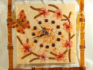 """Изготовление настенных часов методом фьюзинга """"Цветение сакуры"""". Ярмарка Мастеров - ручная работа, handmade."""