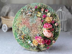 Создаем цветочное панно с фактурным фоном. Ярмарка Мастеров - ручная работа, handmade.