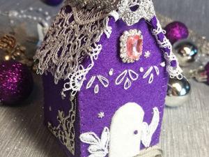 «Строим» из фетра новогоднюю игрушку-домик. Ярмарка Мастеров - ручная работа, handmade.