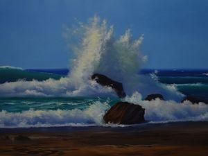 Видеоурок: рисуем морской пейзаж «Прибой». Ярмарка Мастеров - ручная работа, handmade.