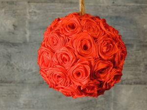 Новогодний шар с розами из атласных лент своими руками. Ярмарка Мастеров - ручная работа, handmade.