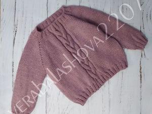 Детский пуловер регланом с узором  «Коса». Ярмарка Мастеров - ручная работа, handmade.
