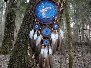 Новинка! Тотемный ловец снов  «Хамингья»  с аквамарином и перьями птиц. Ярмарка Мастеров - ручная работа, handmade.