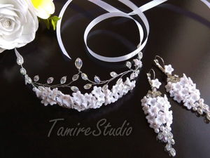 Earrings and a Tiara with Flowers and Beads: DIY Video. Livemaster - handmade