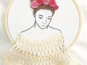 Embroidery Hair Style: Damask Stich Embroidered Girls with Voluminous Hairstyles. Livemaster - handmade