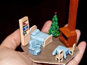Мастерим миниатюрную мебель для новогоднего домика. Ярмарка Мастеров - ручная работа, handmade.