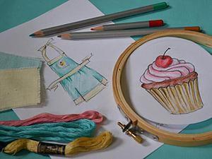 Очаровательный фартук с пироженкой для дочки. Ярмарка Мастеров - ручная работа, handmade.
