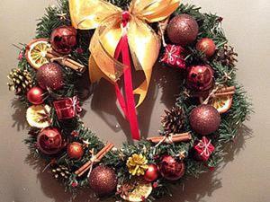 Делаем рождественский венок «Новогоднее настроение». Ярмарка Мастеров - ручная работа, handmade.