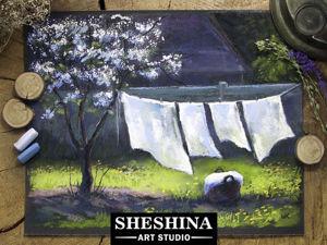 Видеоурок: рисуем весенний пейзаж с сохнущим бельем сухой пастелью. Ярмарка Мастеров - ручная работа, handmade.