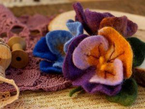 Делаем из шерсти цветок «Анютины глазки». Ярмарка Мастеров - ручная работа, handmade.