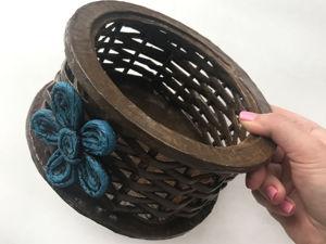 Мастерим плетеную корзинку из газетных трубочек и картона. Ярмарка Мастеров - ручная работа, handmade.
