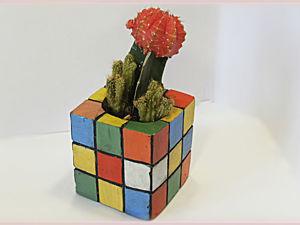 Цветочный горшок из гипса/бетона в виде кубика Рубика. Ярмарка Мастеров - ручная работа, handmade.