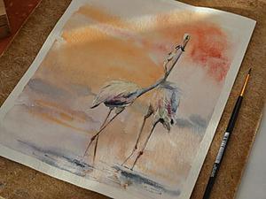 Видео мастер-класс: картина акварелью Фламинго. Ярмарка Мастеров - ручная работа, handmade.