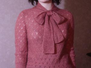 Новый джемпер в винтажном стиле из кашемира, шёлка и кид-мохера. Ярмарка Мастеров - ручная работа, handmade.