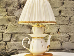 How To Make Table Lamp From Cups and Teapot. Livemaster - handmade