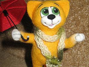 Валяем милого котенка Листика. Ярмарка Мастеров - ручная работа, handmade.
