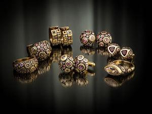 Видео кольца и серег с родолитами, сапфирами и аметистами Mosaic Round. Ярмарка Мастеров - ручная работа, handmade.