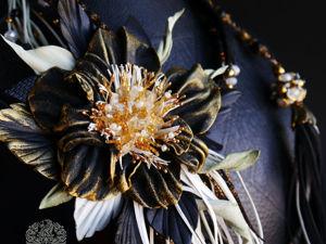 Комплект  «Золотая звезда»  Колье, брошь и браслет из кожи. Ярмарка Мастеров - ручная работа, handmade.
