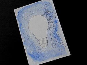 Как просто сделать открытку ко Дню энергетика. Ярмарка Мастеров - ручная работа, handmade.