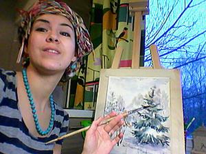 Вдохновляемся видом из окна. Рисуем зимний пейзаж акварелью. Ярмарка Мастеров - ручная работа, handmade.