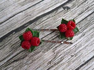 Создаем невидимки с ягодами малины из полимерной глины: видеоурок. Ярмарка Мастеров - ручная работа, handmade.